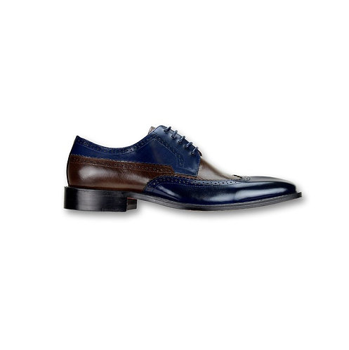 SL0007 Navy/ Ch. Brown Genuine Leather Shoe