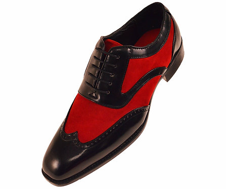 Sio Mens Red Faux Suede and Black Smooth Wing-Tip Two-Toned Oxford