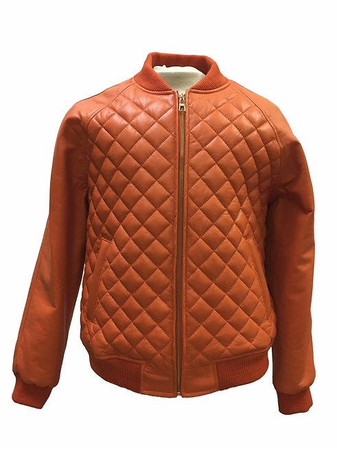 Orange Quilted Jacket, Leather Jacket, Varsity Jacket