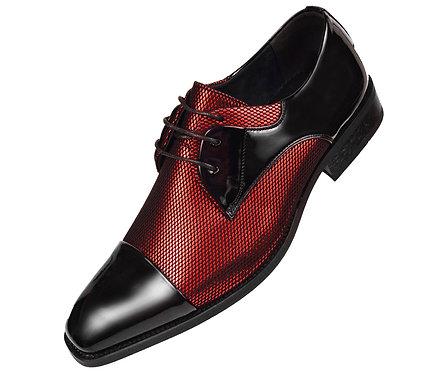 Amali Mens Two Tone Metallic Red and Black Tuxedo Dress Shoe