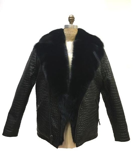 Olive Green Fur Collar Motorcycle Jacket, Lamb Skin Leather, Alligator Embrossed
