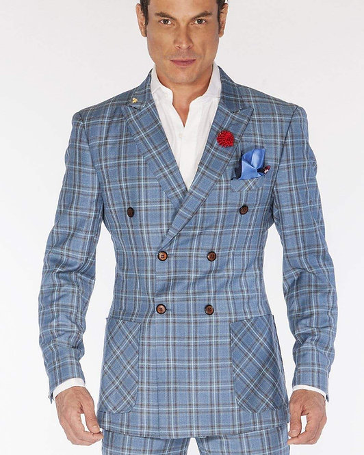 Mens Fashion Suits Double Breasted Plaid2 Blue