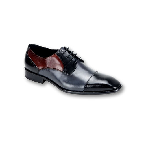 SL0009 | Black / Grey / Burgundy Genuine Leather Shoe