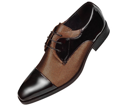 Amali Mens Two Tone Metallic Gold and Black Tuxedo Dress Shoe