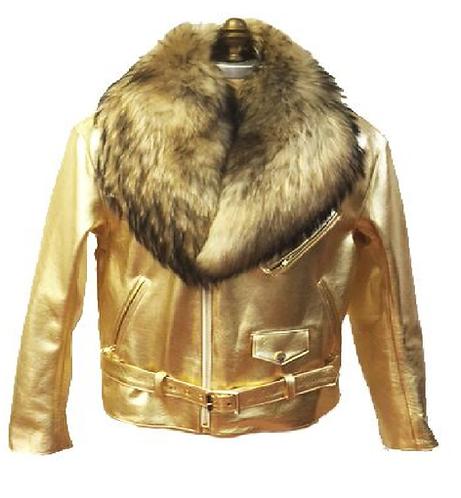 Gold Motorcycle Jacket, Leather Jacket, Fur collar Motorcycle Jacket