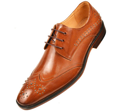 Asher Green Classic Cognac Genuine Leather Perforated Designed Wingtip Oxford