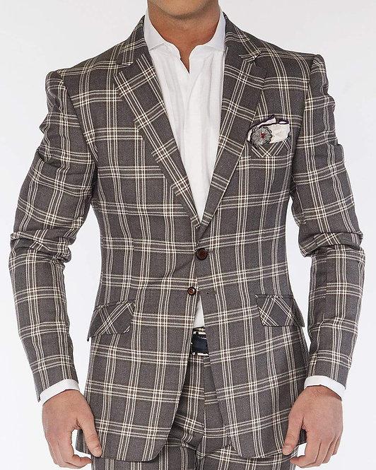 Men's Fashion Suits Plaid5 Gray