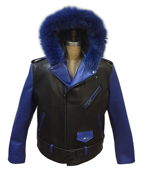 Black/Roya Blue Hooded Racing Jacket, Motorcycle Jacket, Fur Hooded Jacket