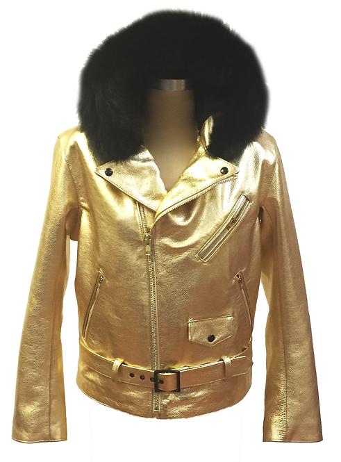Gold Hooded Racing Jacket, Motorcycle Jacket, Fur Hooded Jacket