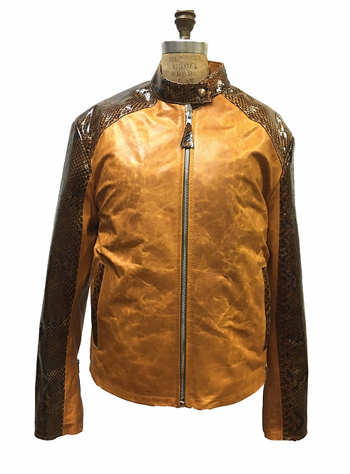 Exotic Jacket, Distressed Leather Jacket, Snake Skin, Varsity Jacket