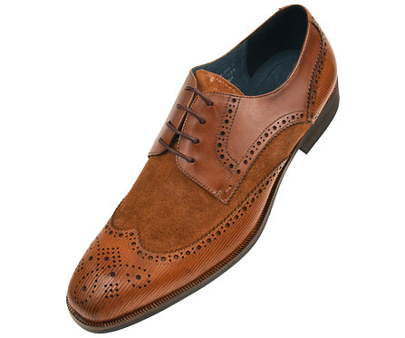 Asher Green Contemporary Cognac Genuine Leather and Suede Wingtip Oxford