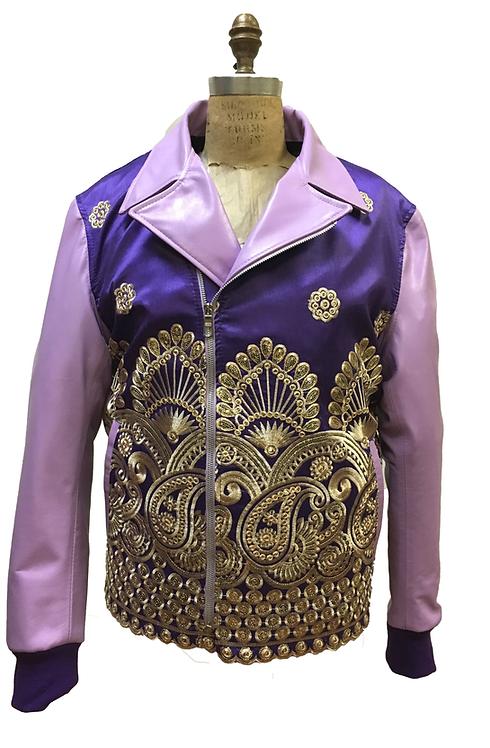 Purple Paisley Jacket, Paisley Racing Jacket, Embroidered Jacket