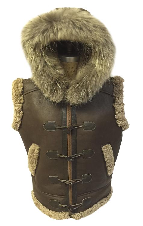 Brown Toggle Shearling Vest, Shearling Vest, Sheep Skin, Sheep Fur