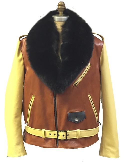 Cognac/Yellow Motorcycle Jacket, Leather Jacket, Fur collar Motorcycle Jacket