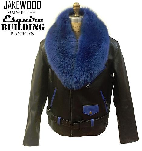 Black/Royal Blue Motorcycle Jacket, Leather Jacket, Fur collar Motorcycle Jacket