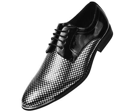 Amali Black Patent Classic Oxford Tuxedo Dress Shoe with Silver Checker Print
