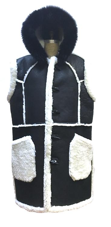 Black Sleeve-less Shearling Coat, Shearling Coat, Sheep skin Coat, JakeWood, Black Coat