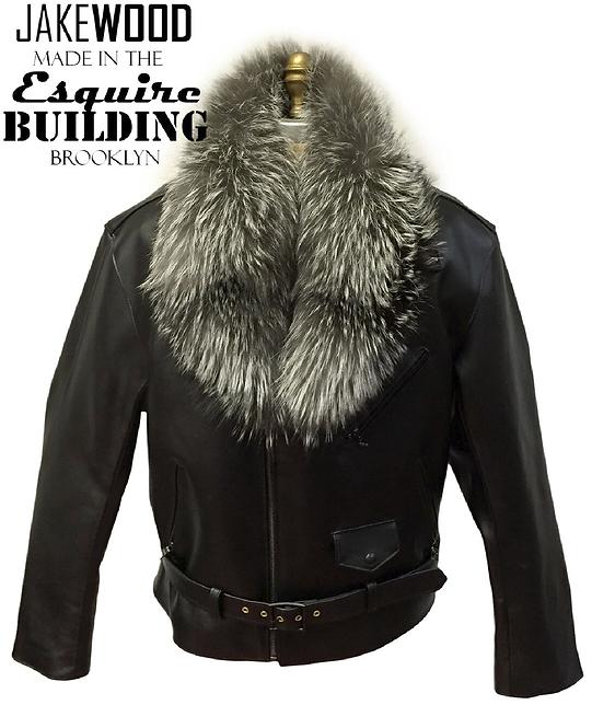 Black Motorcycle Jacket, Leather Jacket, Fur collar Motorcycle Jacket