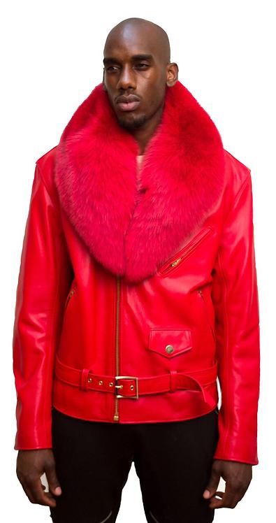 Red Motorcycle Jacket, Leather Jacket, Fur collar Motorcycle Jacket