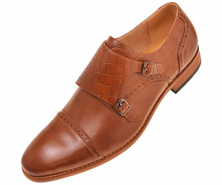 Amali Mens Tan Crocodile Embossed Smooth Double Monk Strap