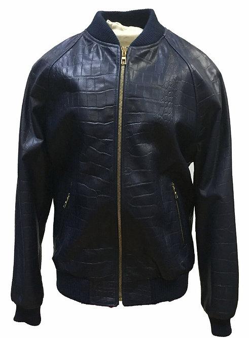 Black Jacket, Alligator Skin Jacket, Leather Jacket, Varsity Jacket