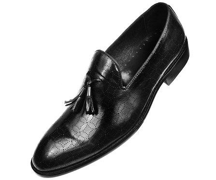 Asher Green Contemporary Black Burnished Leather Tassle Slip On Loafer Dress