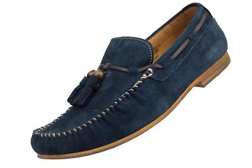 Asher Green Mens Royal Blue Genuine Suede Stitched Tassle Loafer