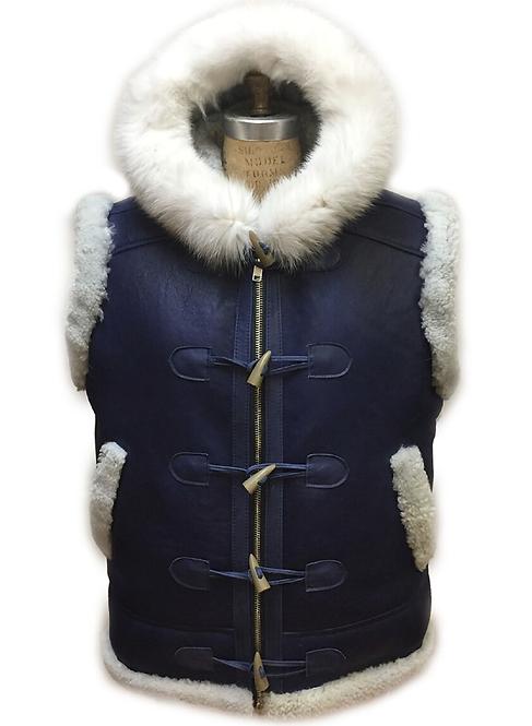 Navy/White Toggle Shearling Vest, Shearling Vest, Sheep Skin, Sheep Fur