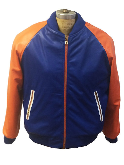Royal Blue/Orange Lamb Leather Varsity Jacket #10513
