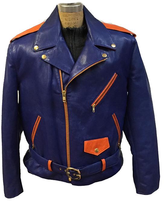 Royal Blue Motorcycle Jacket, Leather Jacket, Motorcycle Jacket