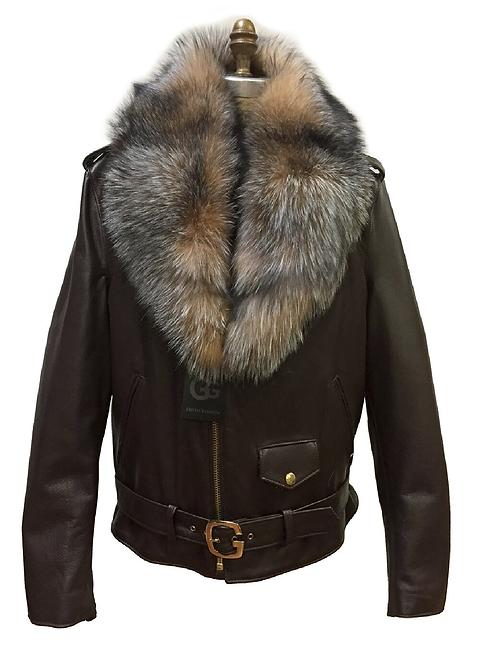 Brown Motorcycle Jacket, Leather Jacket, Fur collar Motorcycle Jacket