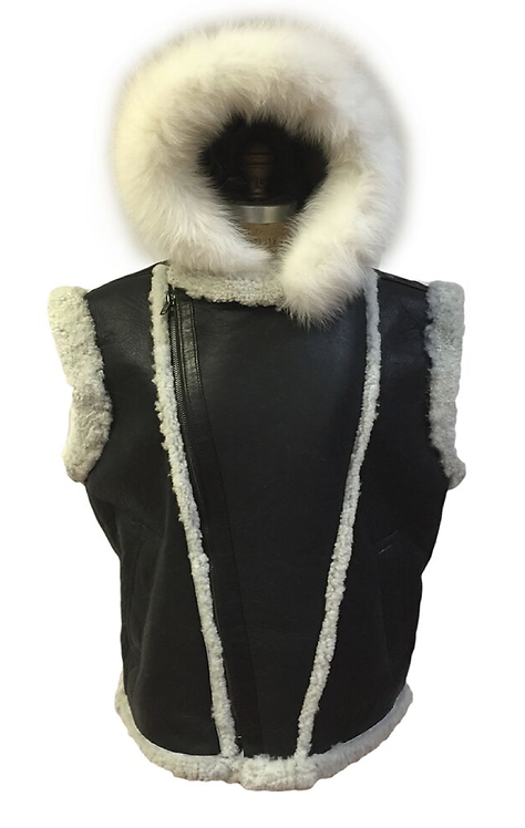 Black/White Hooded Shearling Vest, Shearling Vest, Sheep Skin, Sheep Fur