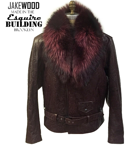 Burgundy Motorcycle Jacket, Leather Jacket, Fur collar Motorcycle Jacket