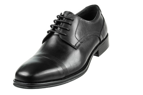 Asher Green Mens Black Genuine Brushed Calf Leather Cap Toe Lace Up Oxford