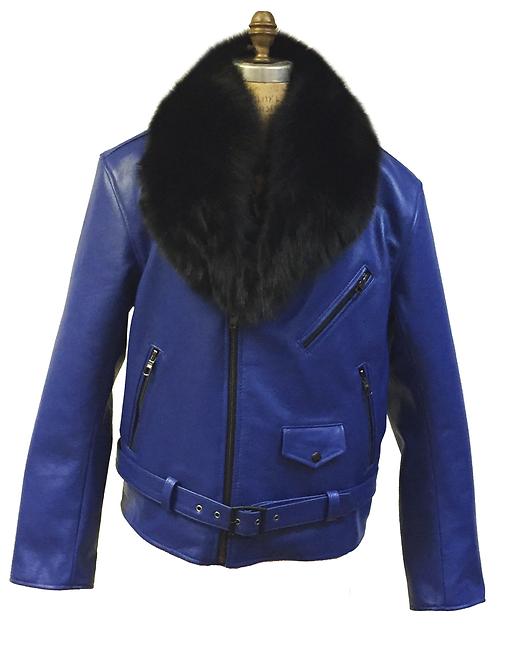 Royal Blue Motorcycle Jacket, Leather Jacket, Fur collar Motorcycle Jacket