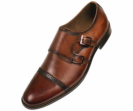 Asher Green Brown Genuine Leather  Double Monk Strap Dress Shoe with Cap