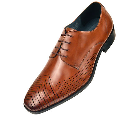 Asher Green Contemporary Tan Genuine Leather Perforated Pattern Plain Toe Oxford