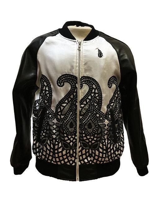White and Black Jacket, Lamb Skin Jacket, Leather Jacket, Varsity Jacket
