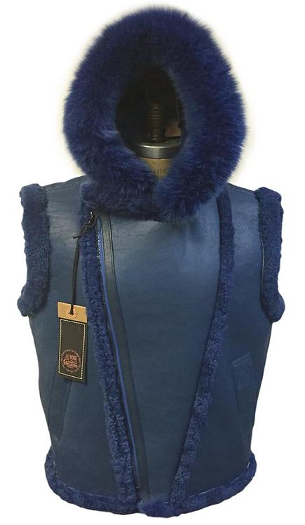 Navy Hooded Shearling Vest, Shearling Vest, Sheep Skin, Sheep Fur