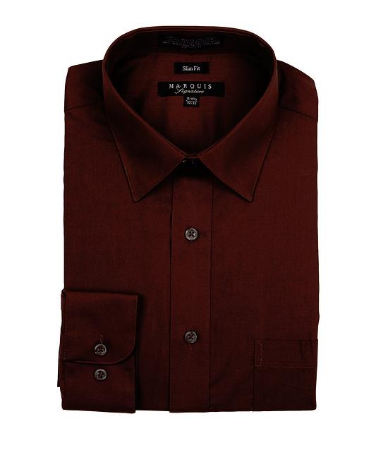slim fit dress shirt brown