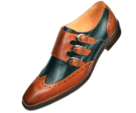 Asher Green Two Tone Green and Tan Leather Perforated Wingtip Triple Monk