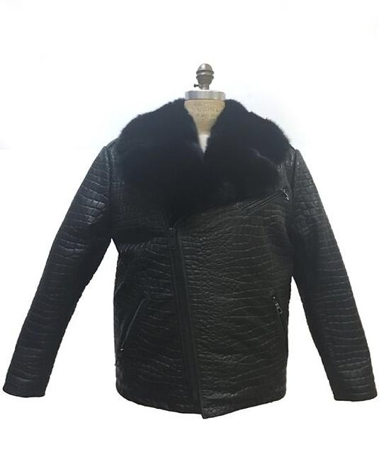 Black Fur Collar Motorcycle Jacket, Lamb Skin Leather, Alligator Embrossed