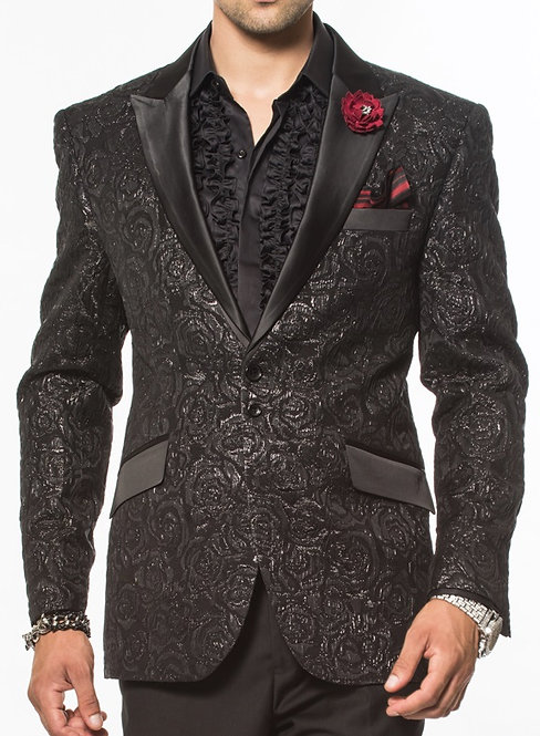 Angelino Woven Rose Black Blazer