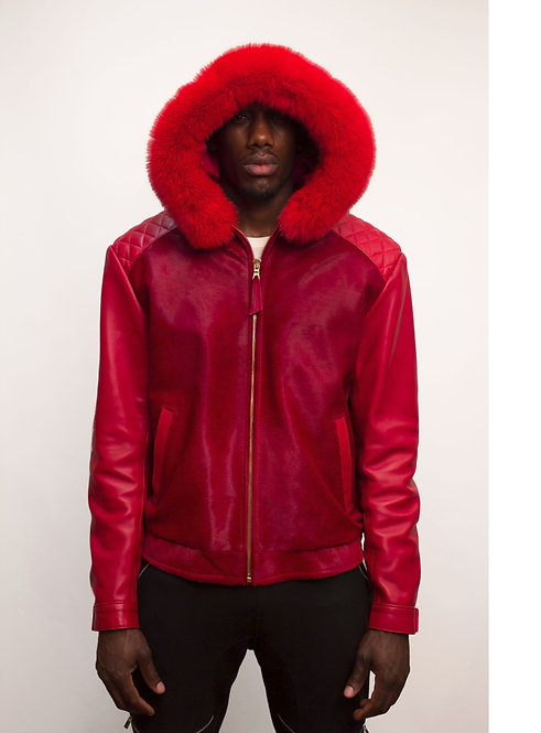 Red Jacket, Pony Jacket, Hooded Leather Jacket