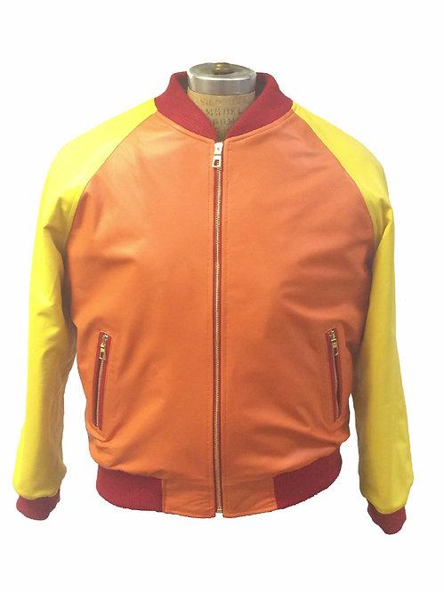 Orange/Yellow Jacket, Lamb Skin Jacket, Leather Jacket, Varsity Jacket