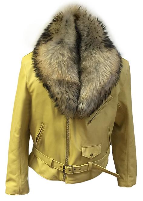 Yellow Motorcycle Jacket, Leather Jacket, Fur collar Motorcycle Jacket