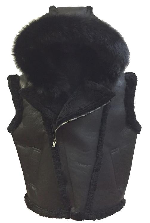 Black Hooded Shearling Vest, Shearling Vest, Sheep Skin, Sheep Fur
