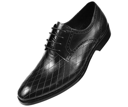 Asher Green Mens Contemporary Black Genuine Leather Quilted Plain Toe Oxford