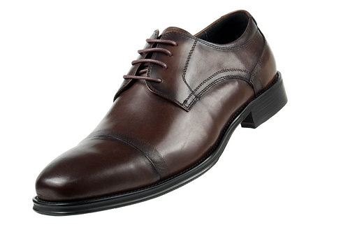 Asher Green Mens Dark Brown Genuine Brushed Calf Leather Cap Toe Lace Up Oxford
