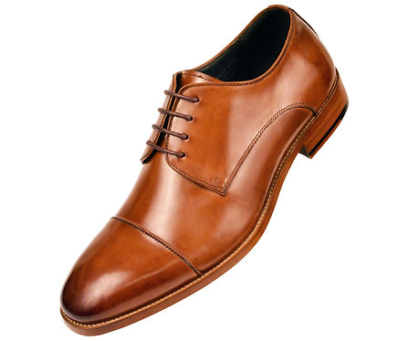 Asher Green Mens Cognac Genuine Leather Cap Toe Lace Up Oxford